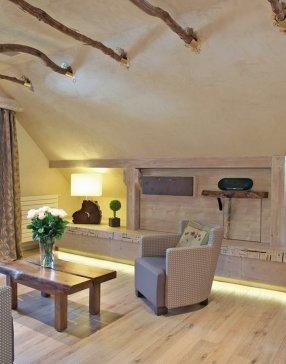 Salon spacieux avec des matériaux en bois dans une chambre de type familiale