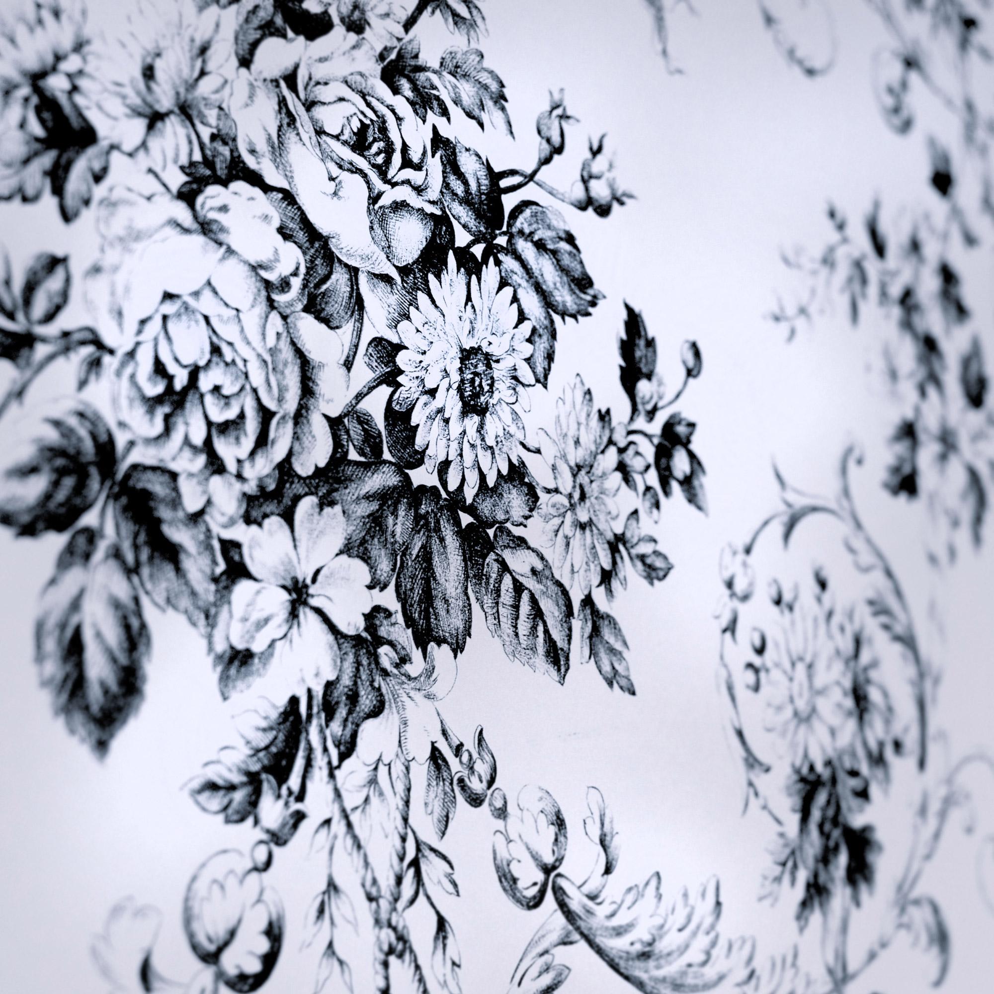 Gros plan de motif de toile de Jouy en noir et blanc