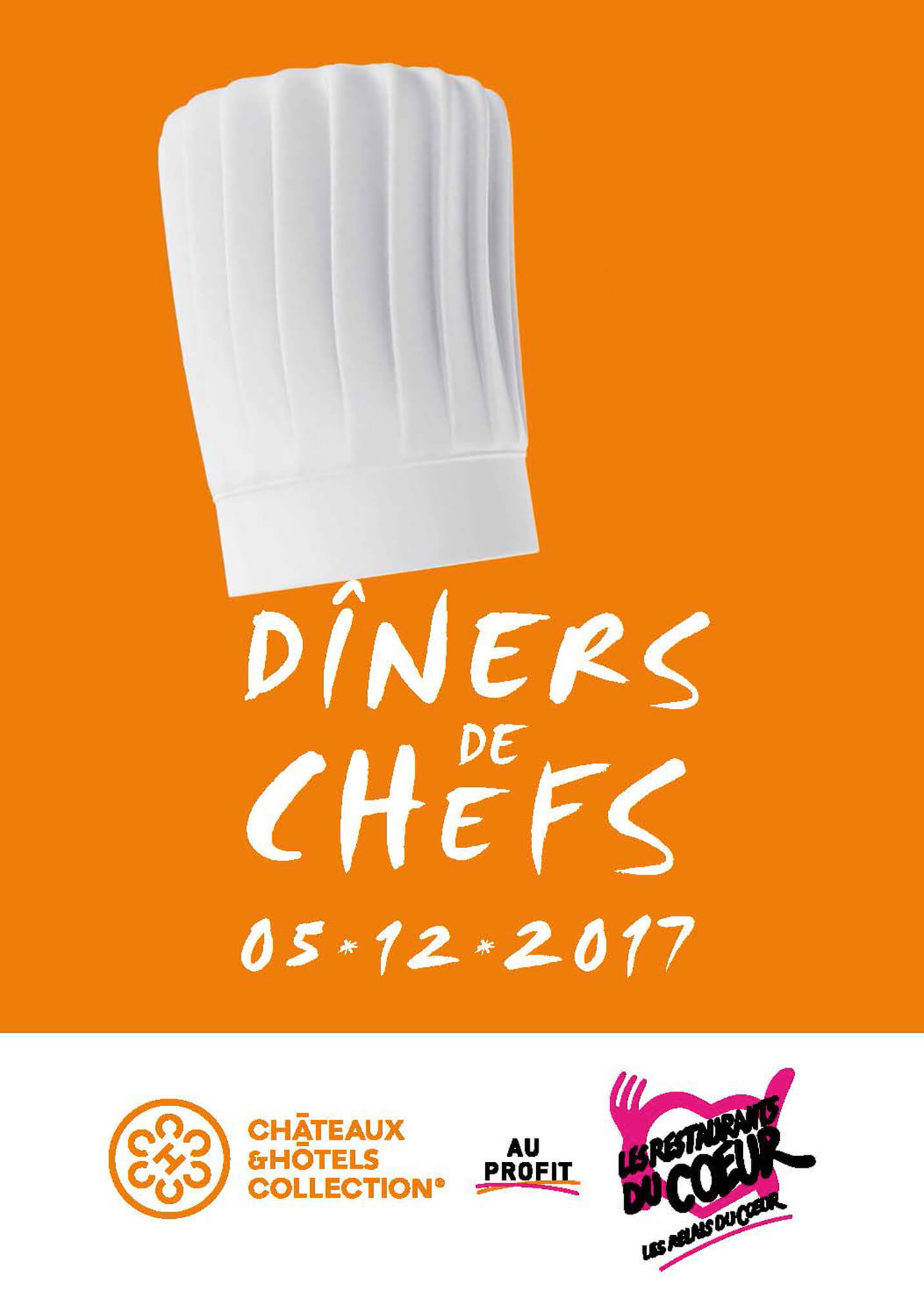 Les Dîners de Chefs au profit des Restaurant du Coeur auront lieu le 5 décembre 2017