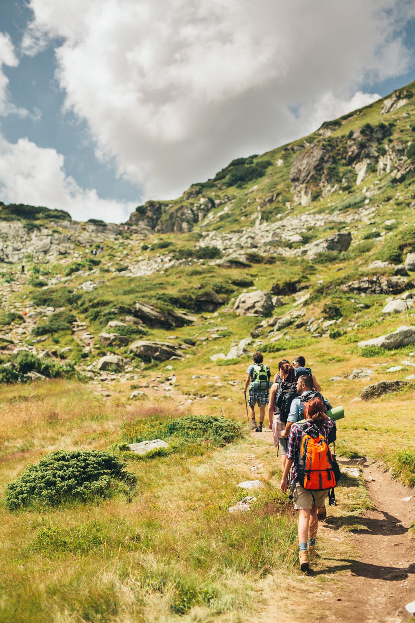 Groupe depersonnes partageant une activité commune : de la randonnée sur les chemins de montagne