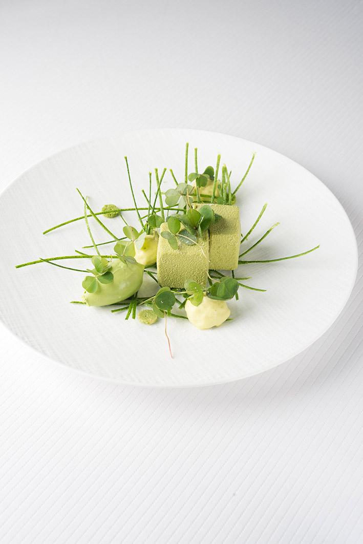 Assiette blanche contenant un plat mis en scène dans les teintes vertes