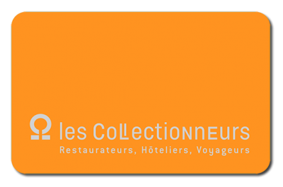 Carte orange sur laquelle figure les Collectionneurs puis Restaurateurs, Hôteliers, Voyageurs