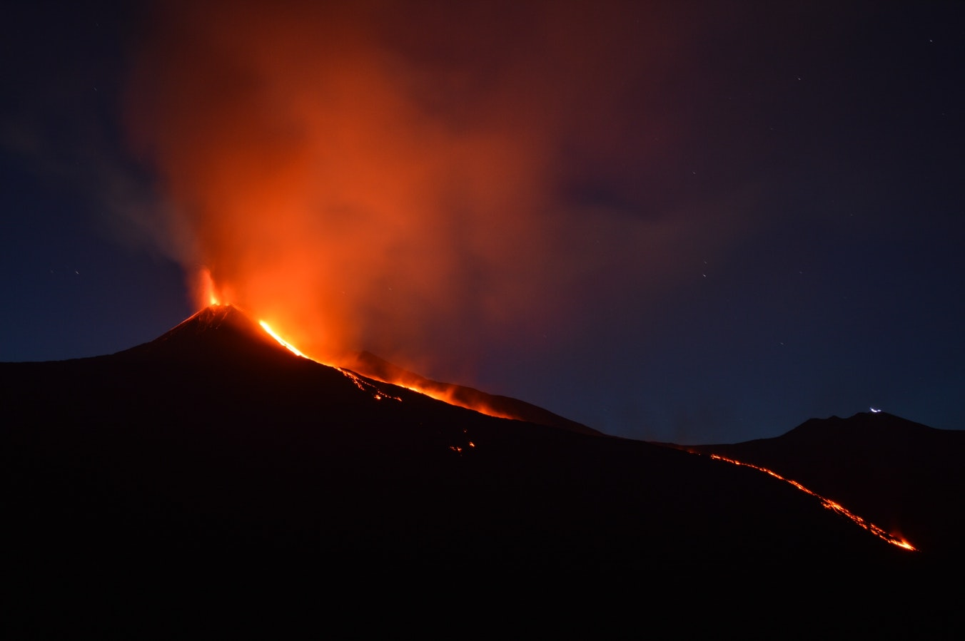 photo de nuit de l'Etna en éruption