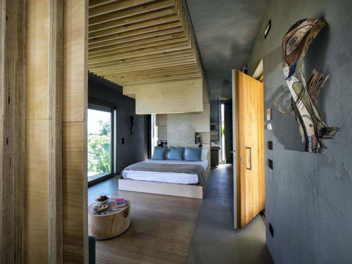 Chambre décoration design lit deux place grande baie vitrée