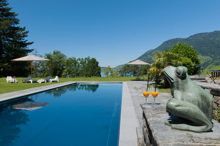 Bassin de nage extérieur entouré d'un jardin avec vue sur les montages et sur le lac