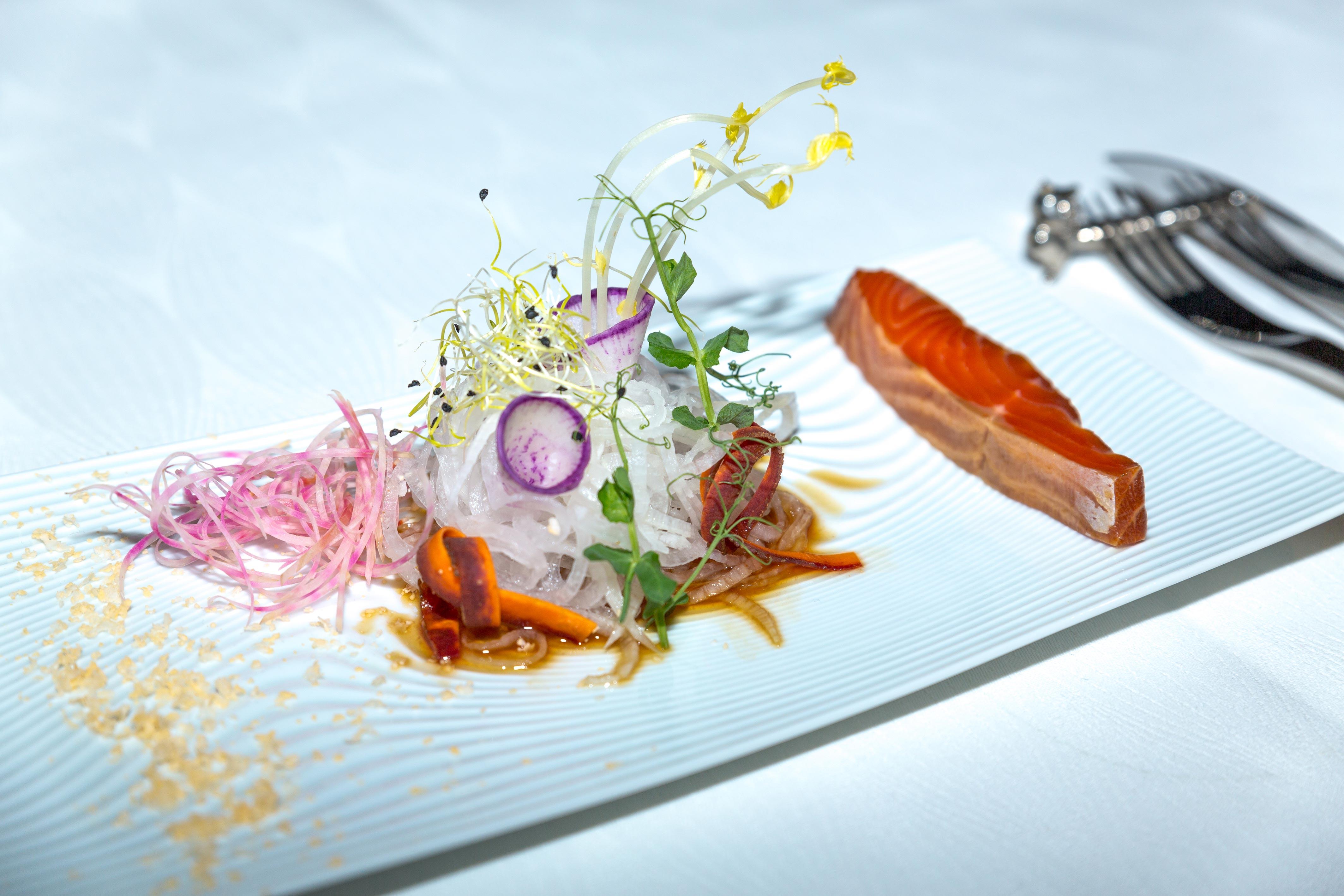 Truite mi-cuite à la japonaise, de Siôn Evans, chef du Château de Bourdeau