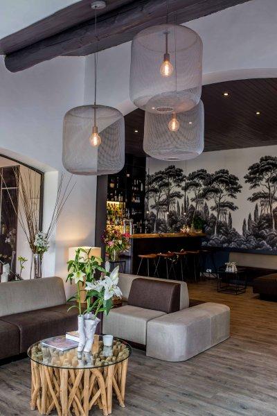 Salle avec suspension et mobilié design et canapé gris