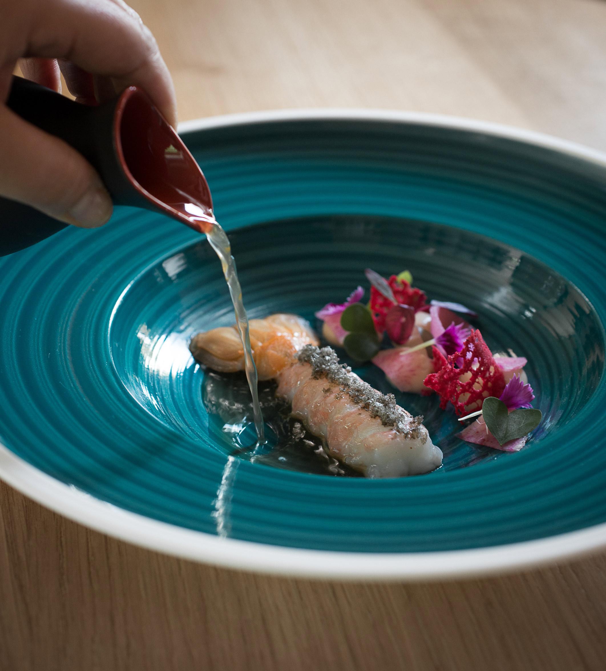 plat de langoustine en bouillon