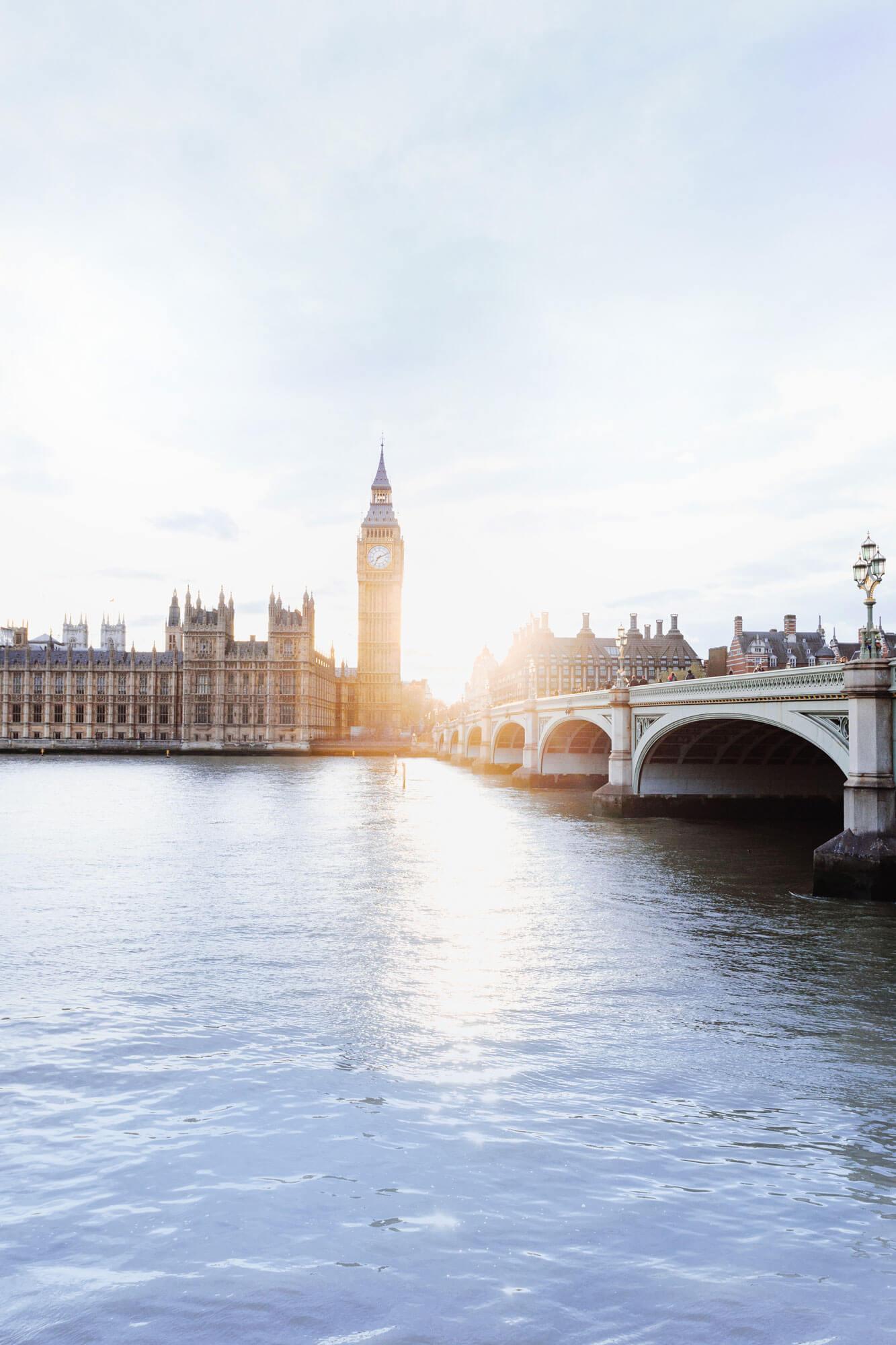 La Tamise, avec vue sur Big Ben et le pont de Westminster