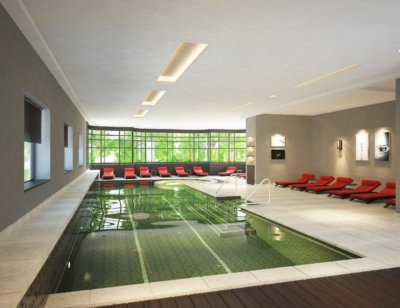 Spa piscine et transat rouge