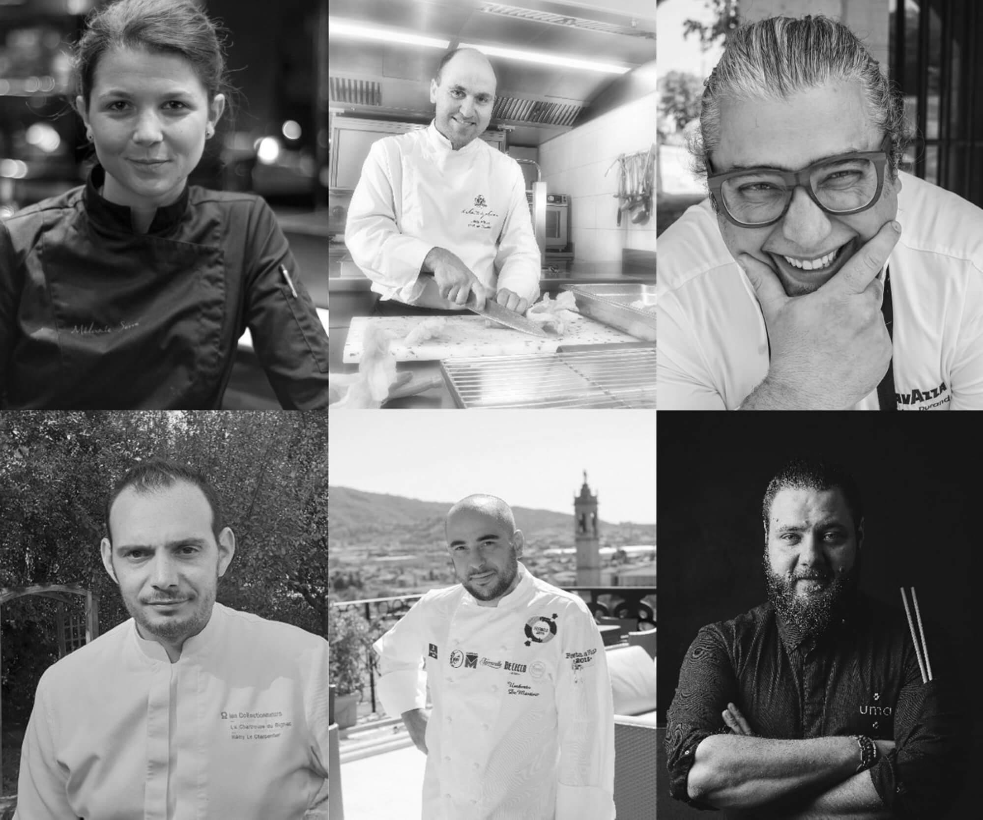 Montage photo noir et blanc de six chefs des Collectionneurs