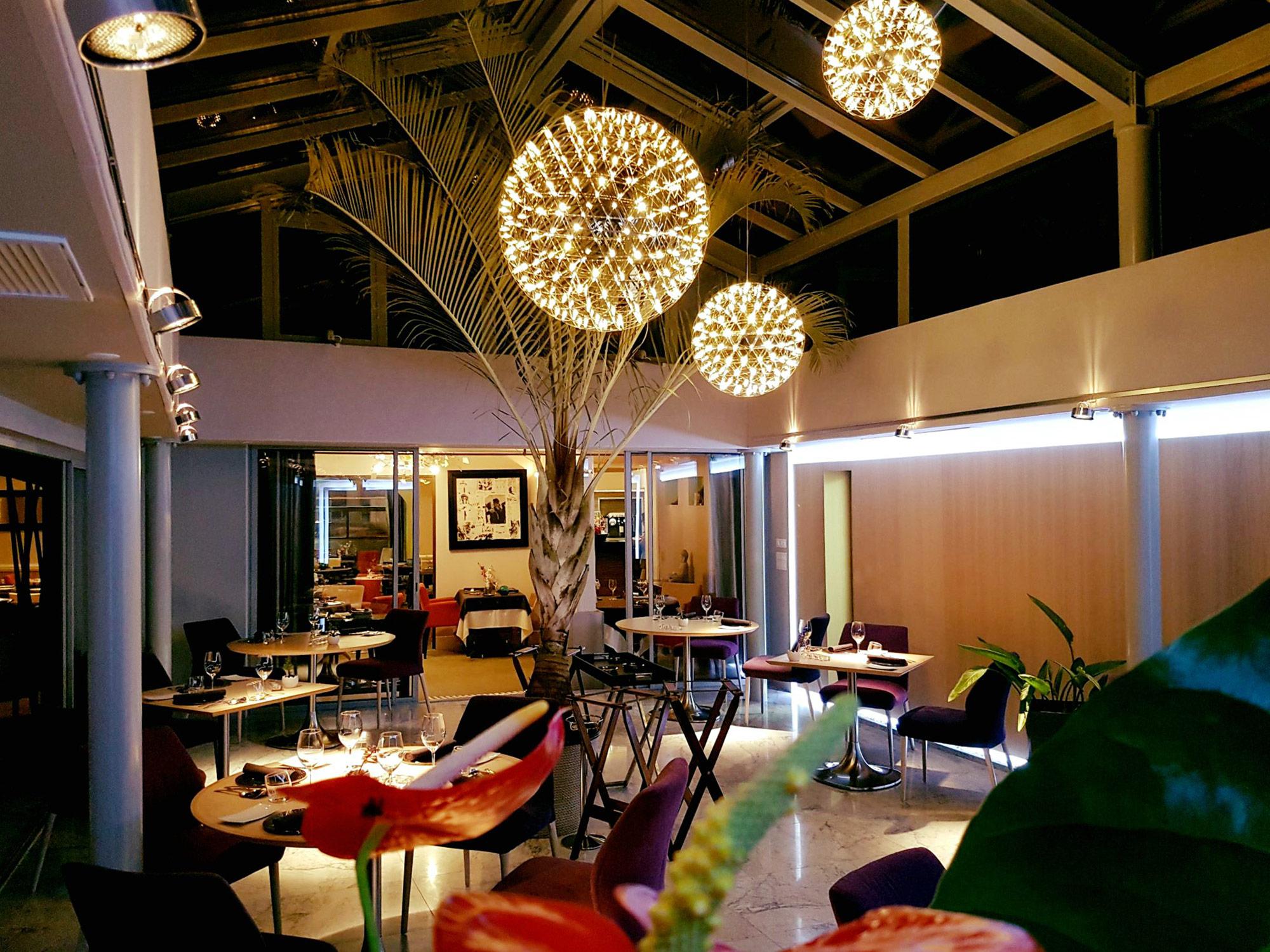 Salle de restaurant sous verrière, palmier, grande suspension