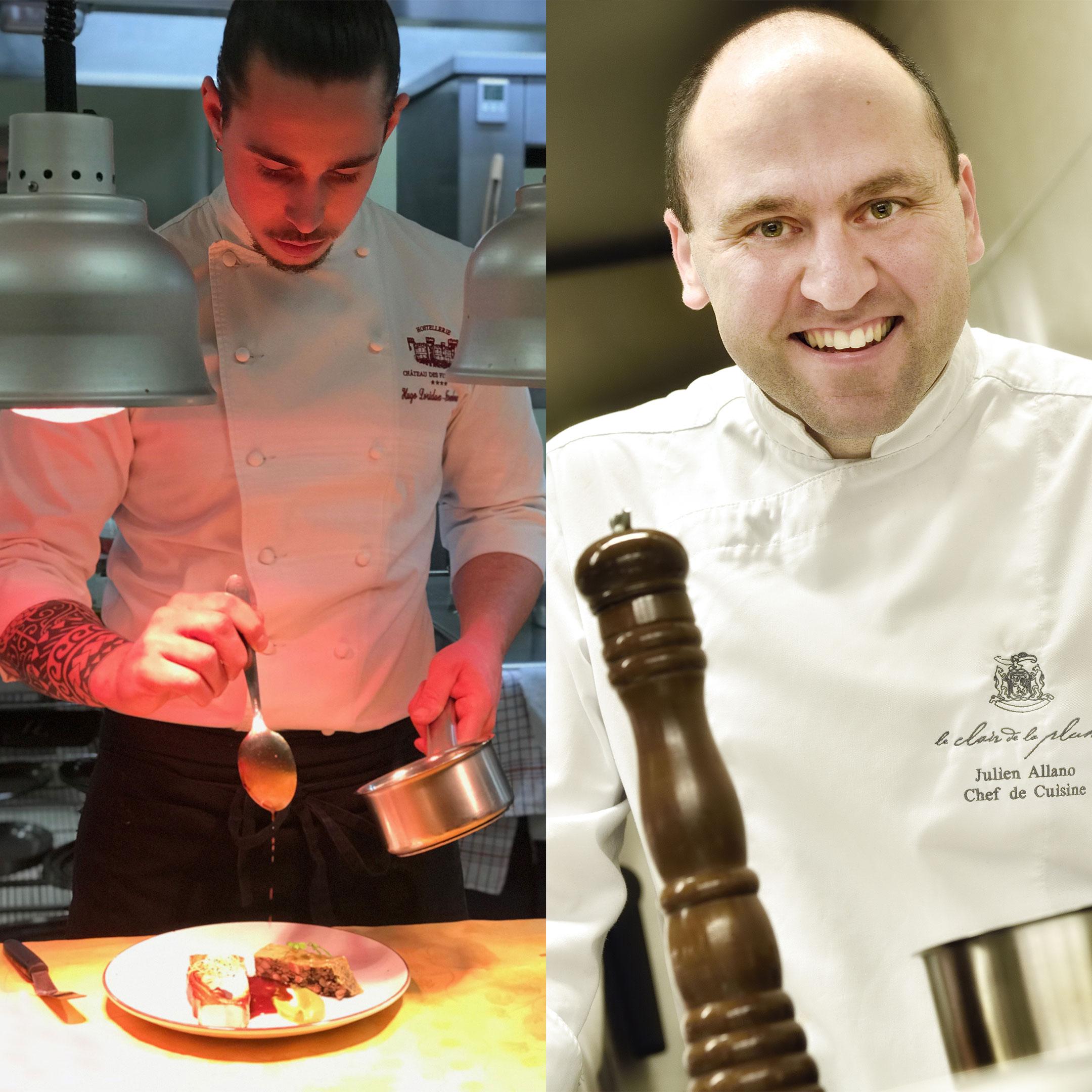 Montage photo de deux chefs en veste de cuisinier