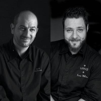 Photo montage noir et blanc de deux chefs en veste de cuisine