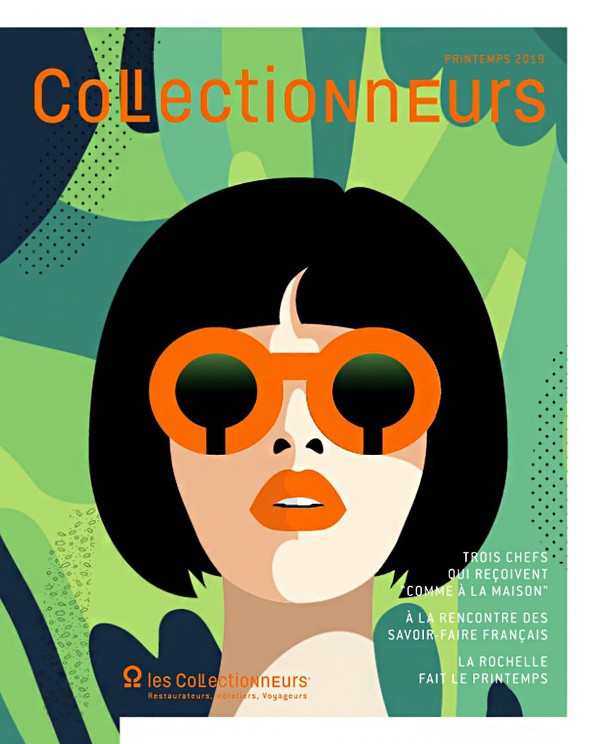 Illustration, visage féminin, cheveux noir au carré, lunettes de soleil orange, arrière plan camaïeu de vert