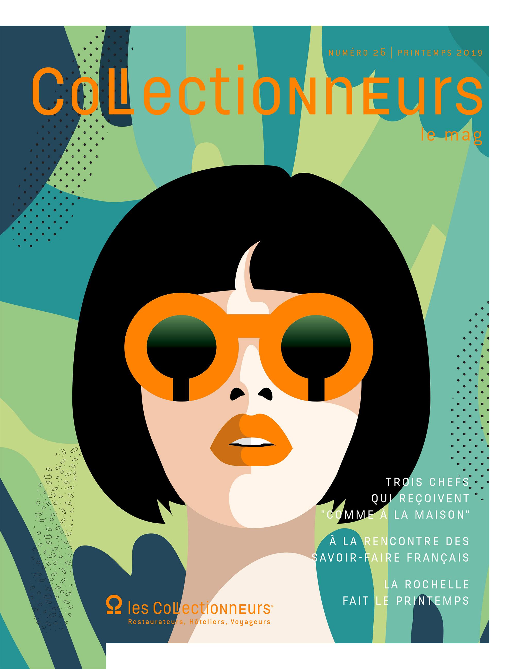 Couverture graphique d'un magazine, illustration d'nue femme femme, coupe au bol avec lunette ronde orange, arrière-plan feuillage