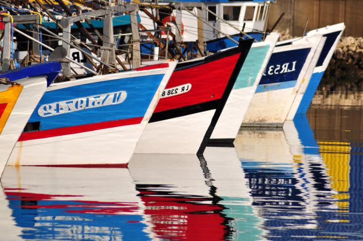 Trois proues de bateau dan l'eau, respectivement bleu, rouge et verte