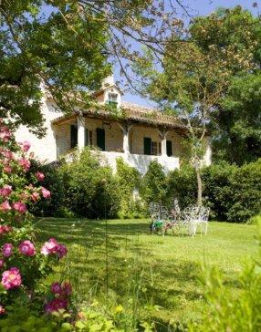 Maison dissimulée derrière un jardin verdoyant