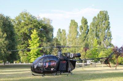 Hélicoptère dans terrain verdoyant