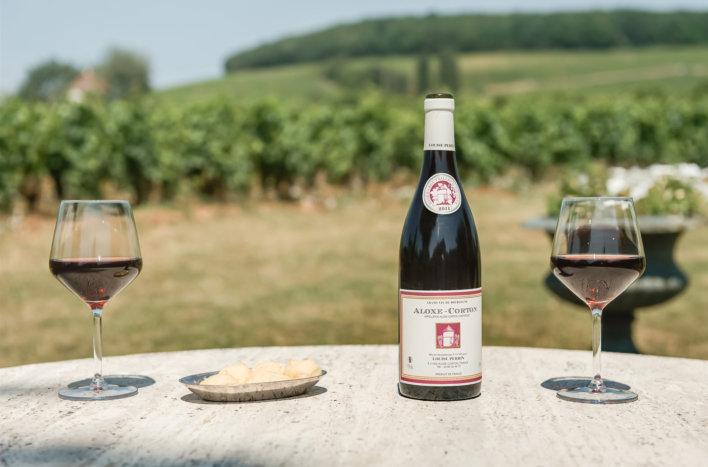 Table de jardin avec deux verres de vins et vignes en arrière plan