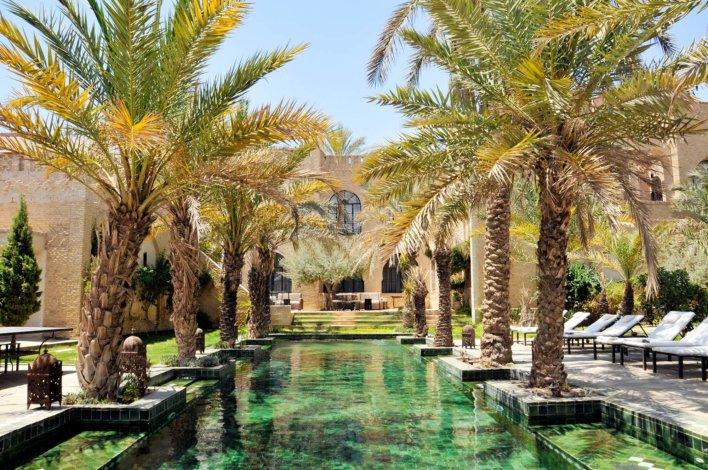 Grande piscine extérieure bordée de palmier au cœur d'un riad tunisien
