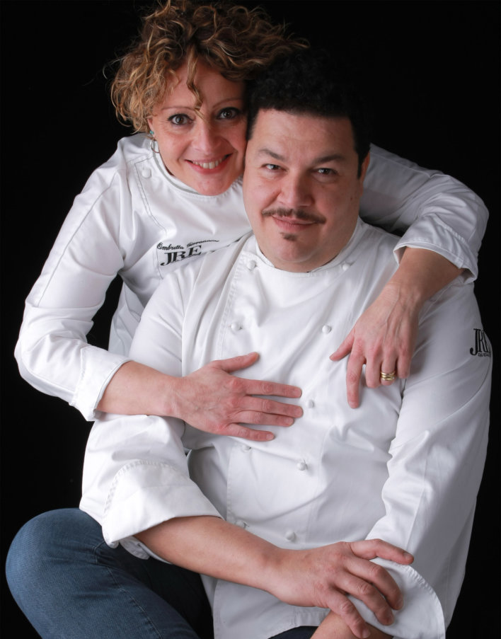 Photo portrait de Filippo Saporito et Ombretta Giovannini, propriétaire et chef du restaurant
