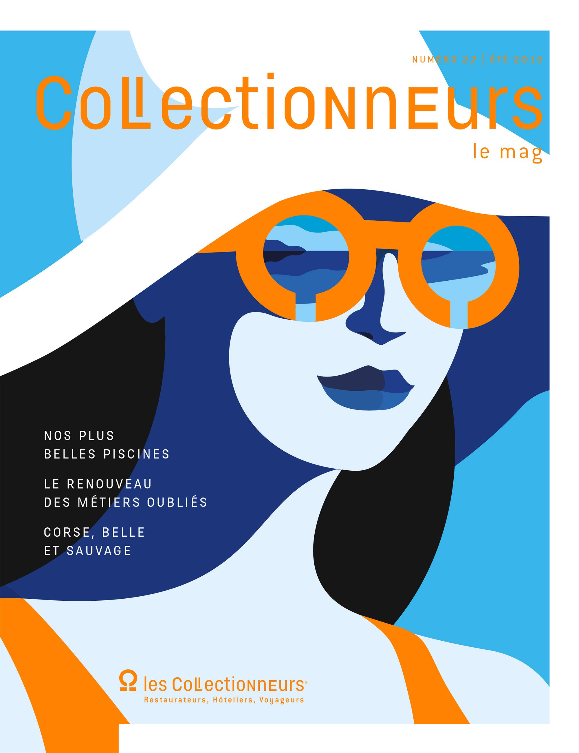 Couverture de magazine, illustration graphique représentant le visage d'une femme sous un chapeau de plage, débardeur et lunettes orange