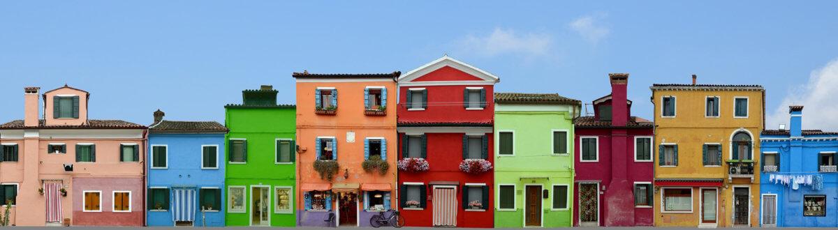 Façade de maisons de l'île de Murano