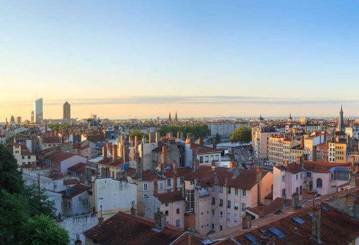 Vue aérienne du quartier de la Croix Rousse à Lyon