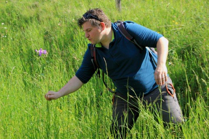 Un homme cueille une plante sauvage