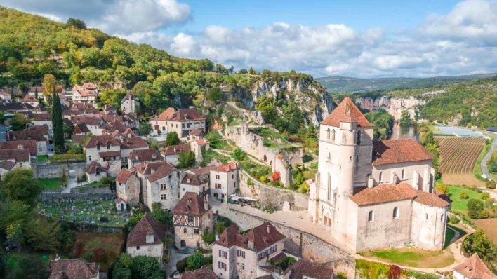 Vue aérienne de la forteresse de Beynac