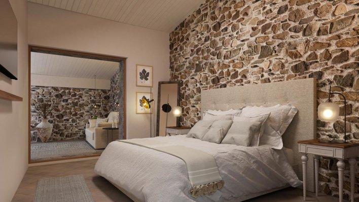 Chambre déco romantique, mur en pierre apparente